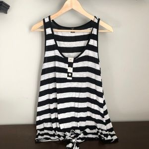 Black and white striped tie-front tank top
